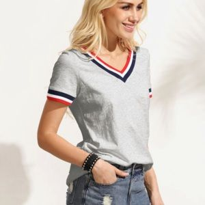 Tops - Awesome crew t with colored collar and sleeve trim